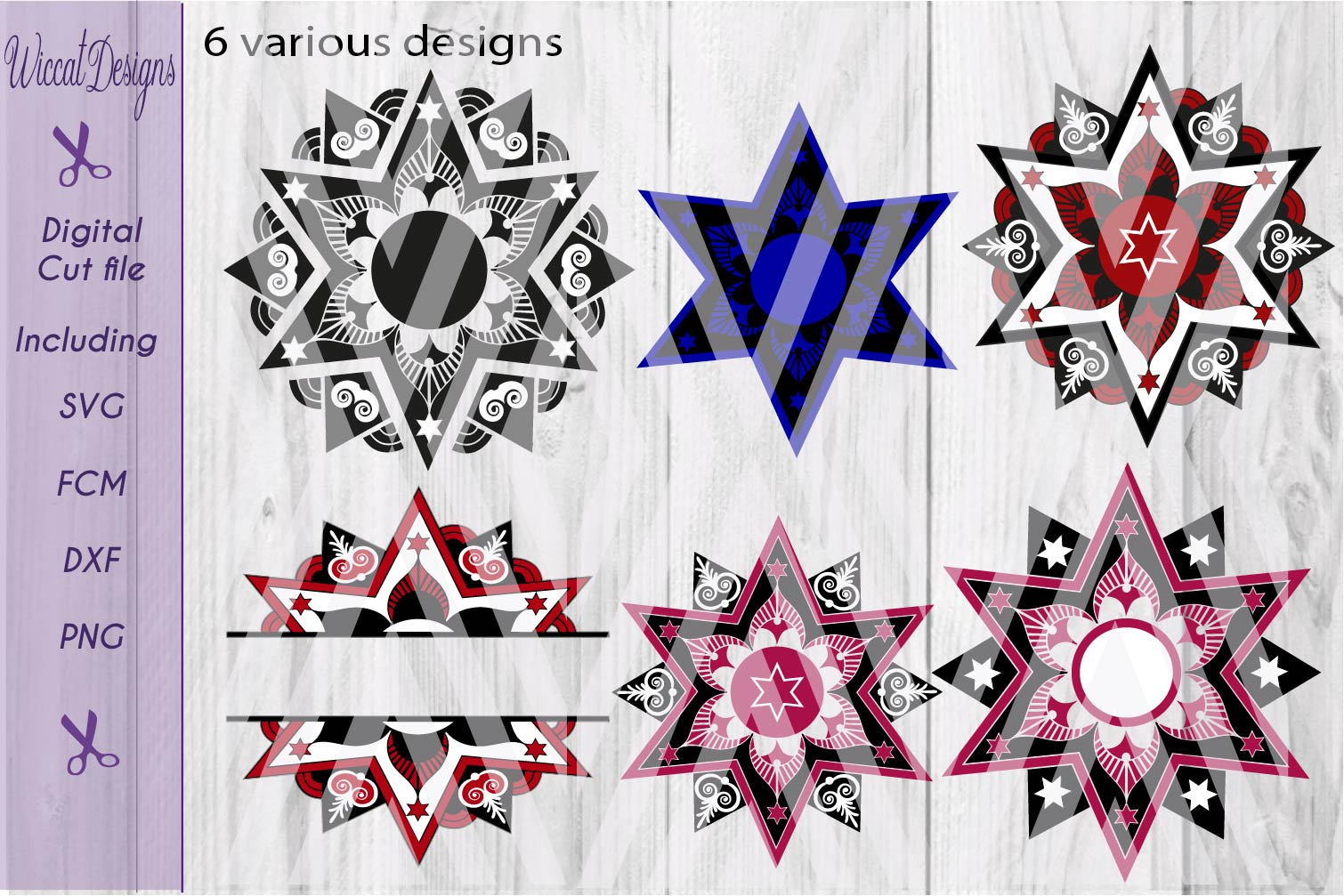 Christmas star svg, Mandala svg, mandala star svg, glass block svg,  Split mandala svg, Monogram svg,  example image 1