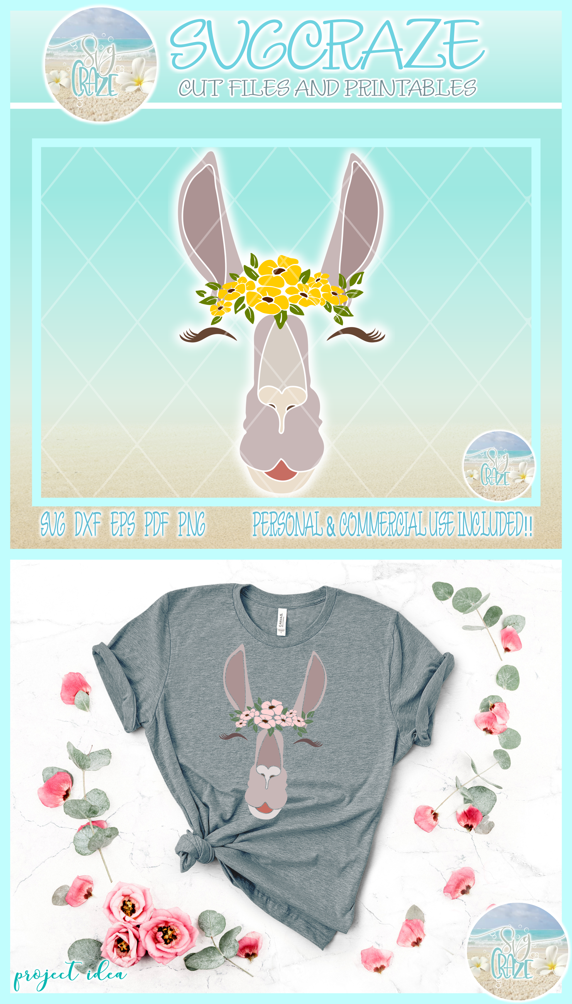 Llama Face With Flowers Svg Dxf Eps Png Pdf Files For Cricut example image 4