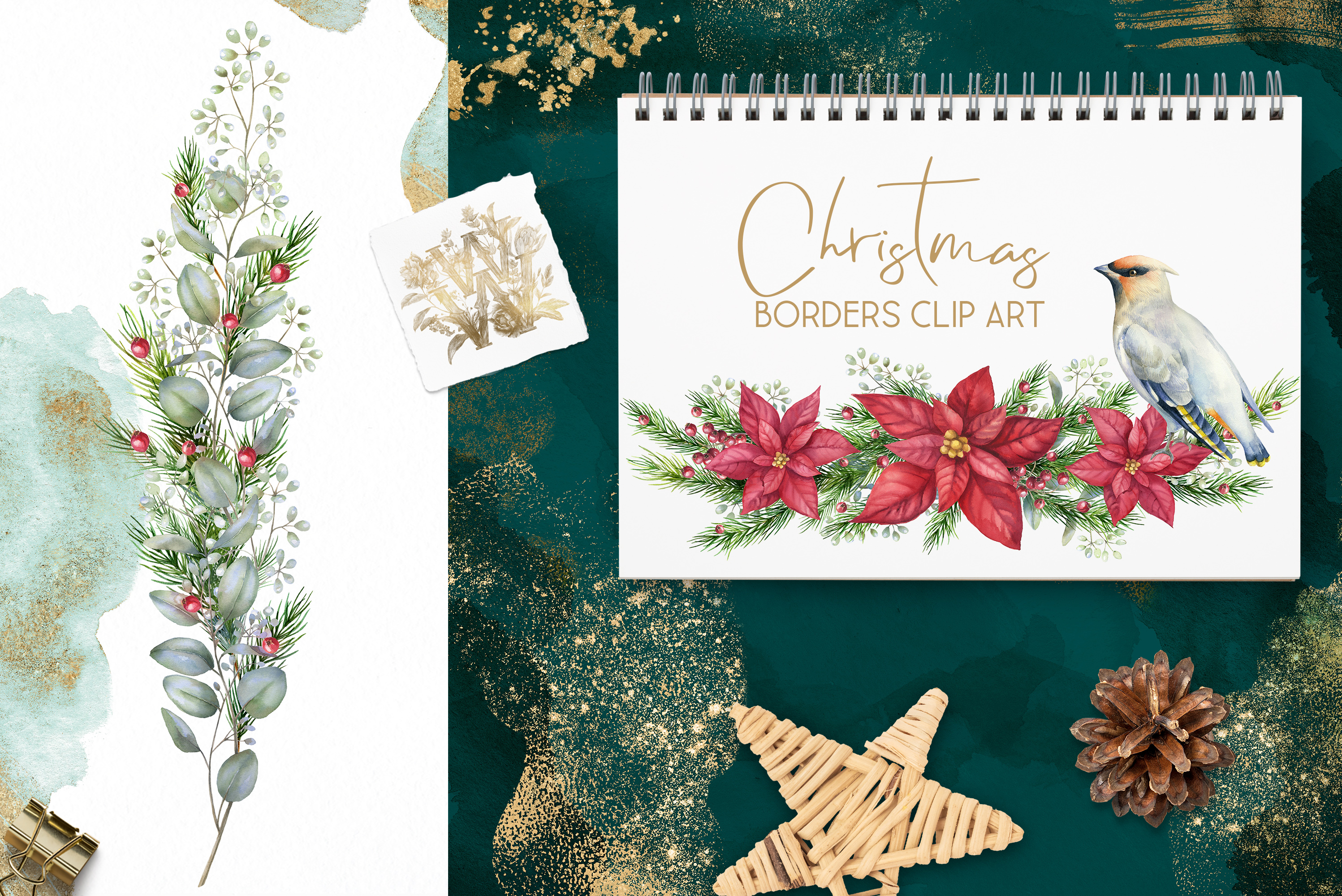 Christmas watercolor border, Poinsettia wedding Bouquet png example image 4