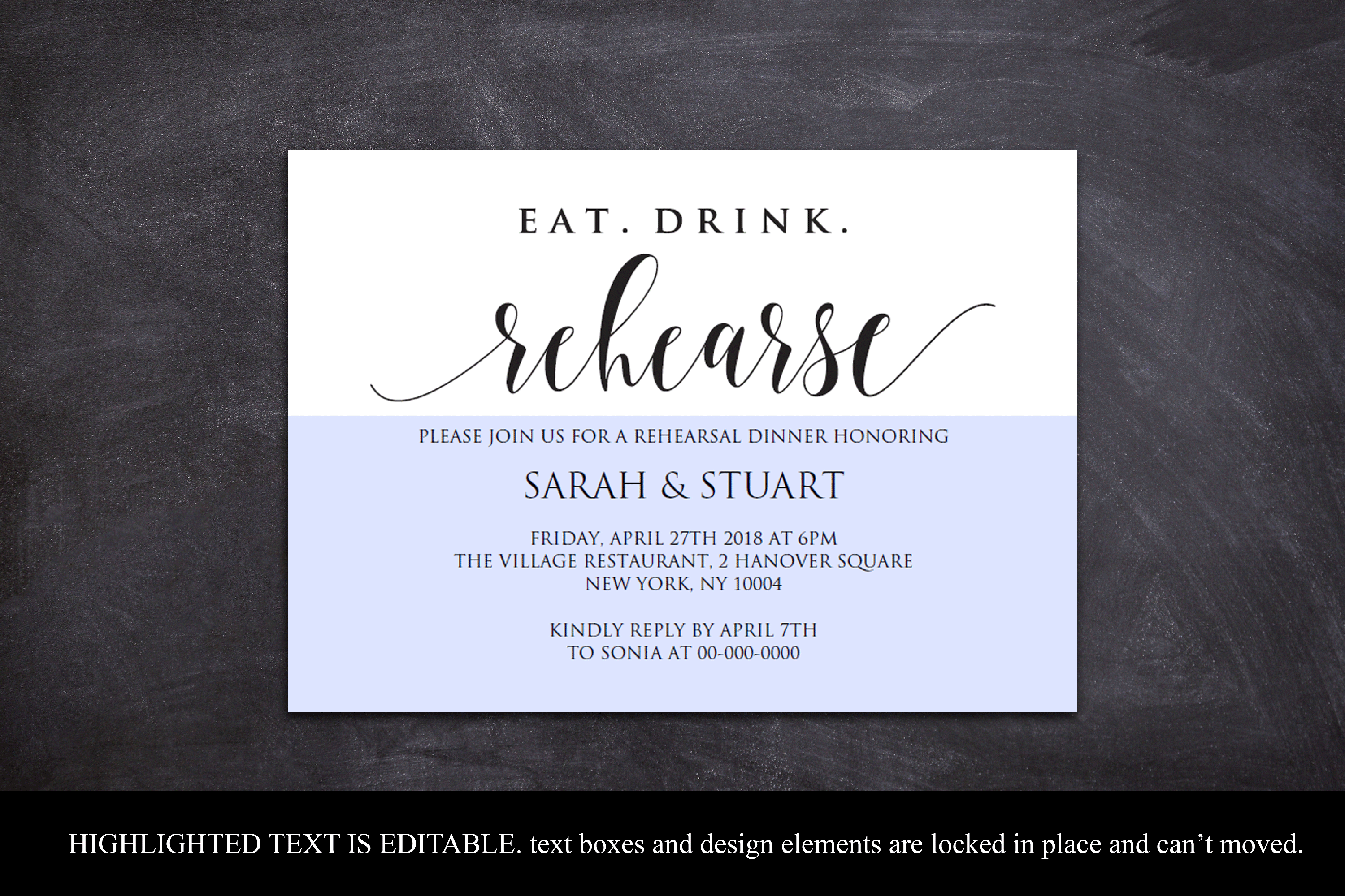 Eat Drink Rehearse Rehearsal dinner invitation template (358507 ...