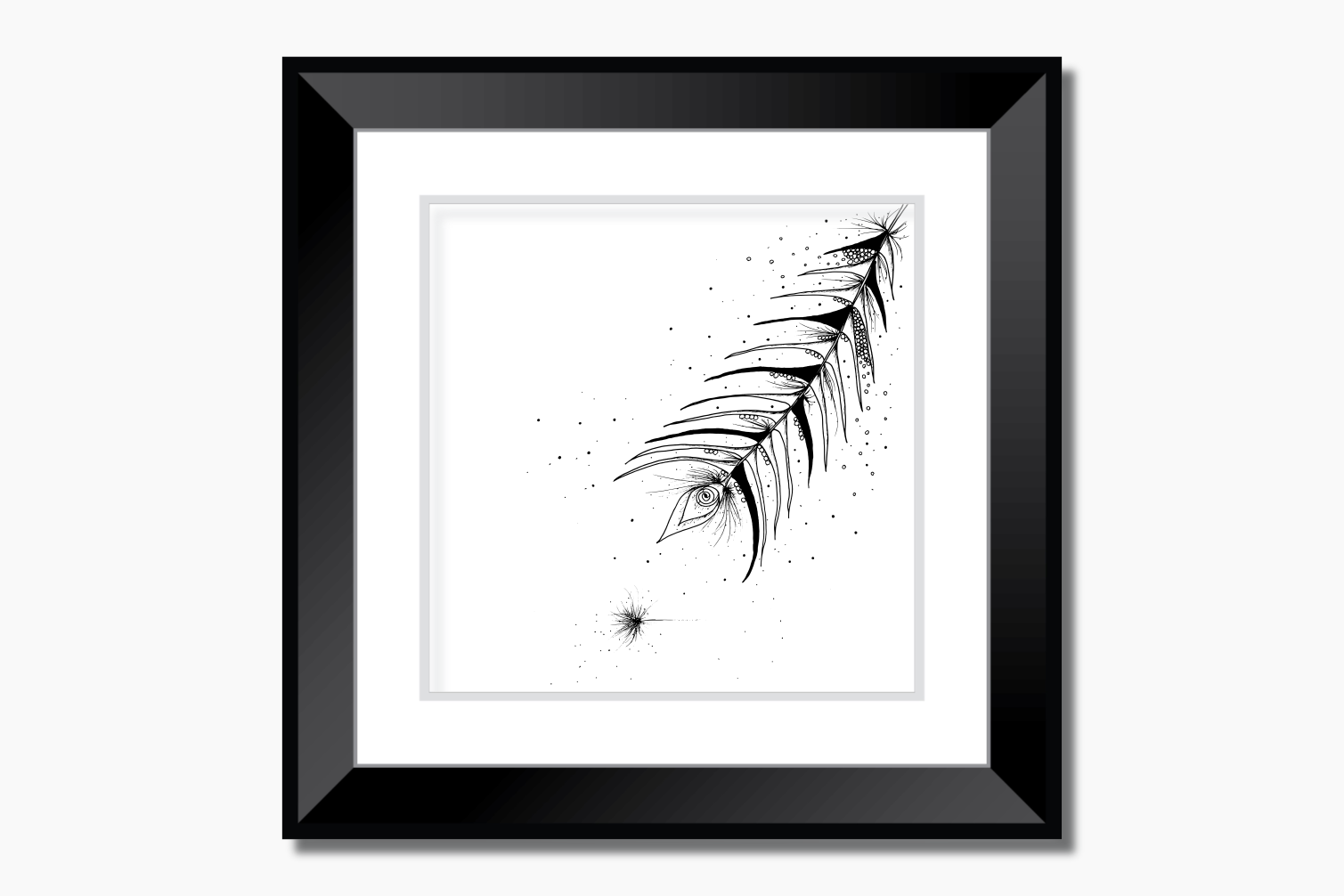 Tribal Feather Floral Ink Art, A1, SVG example image 5