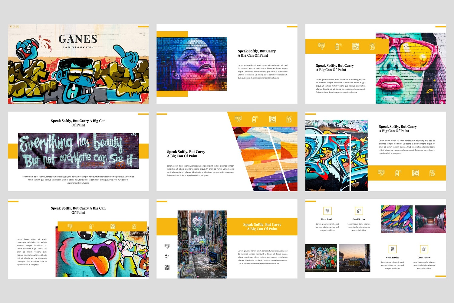 Ganes - Graffiti PowerPoint Template example image 2