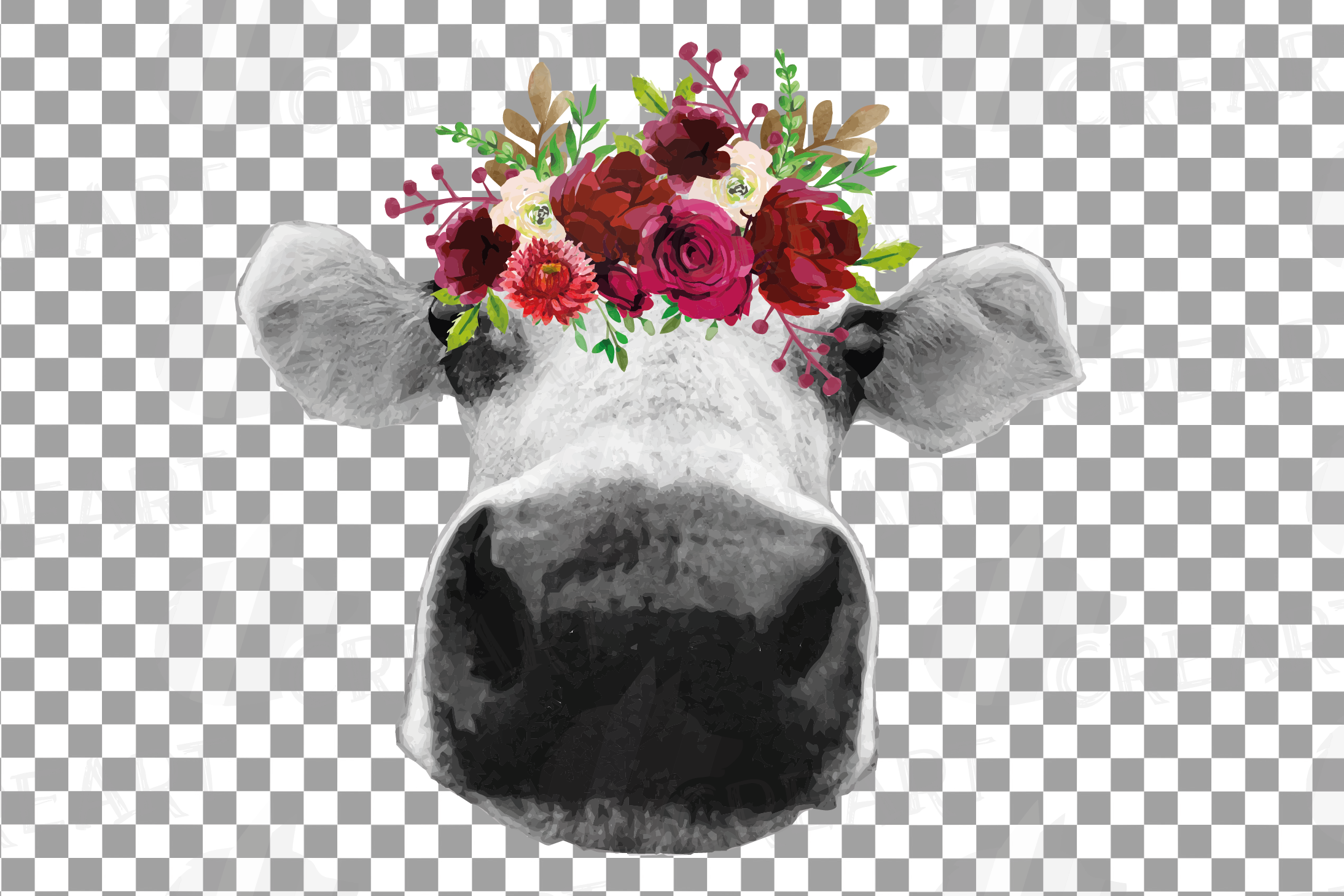 Not today Heifer printable floral burgundy decor, floral cow example image 18