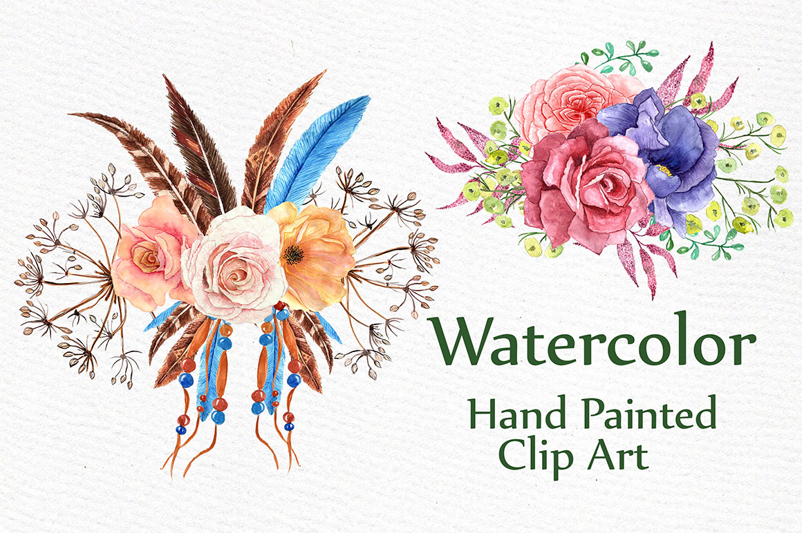 Watercolor tribal set  example image 3