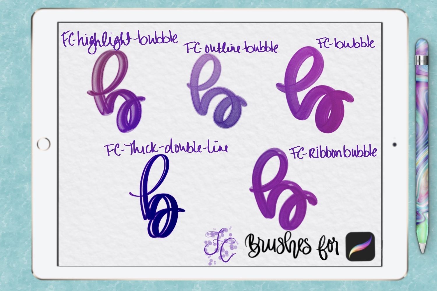 FC-funky lettering set 1 for PROCREATE example image 4