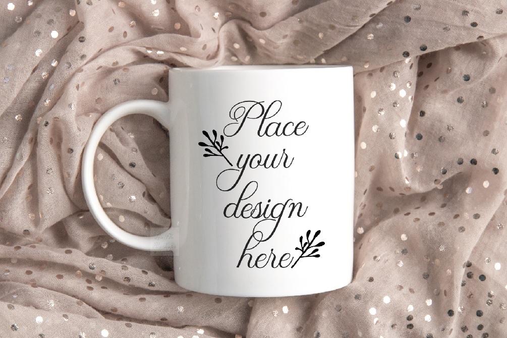 Mug mockup modern flatlay sublimation 11oz cup beige mock up example image 1