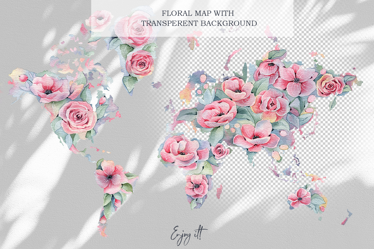 Watercolor Floral map, Spring pink flowers clipart, peony example image 2