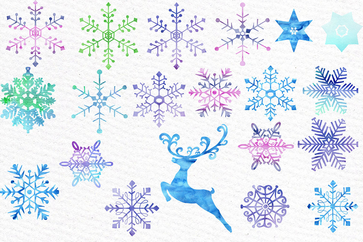 Watercolor snowflake clipart example image 2
