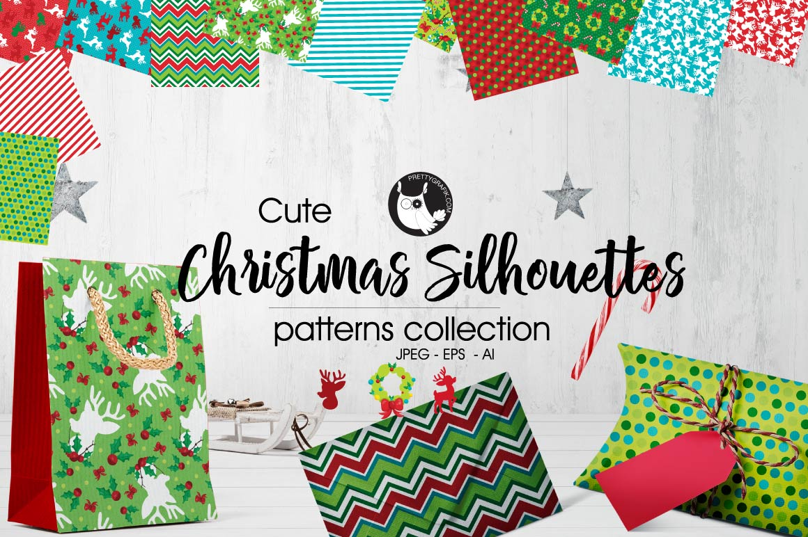 CHRISTMAS-SILHOUETTES , digital papers example image 1