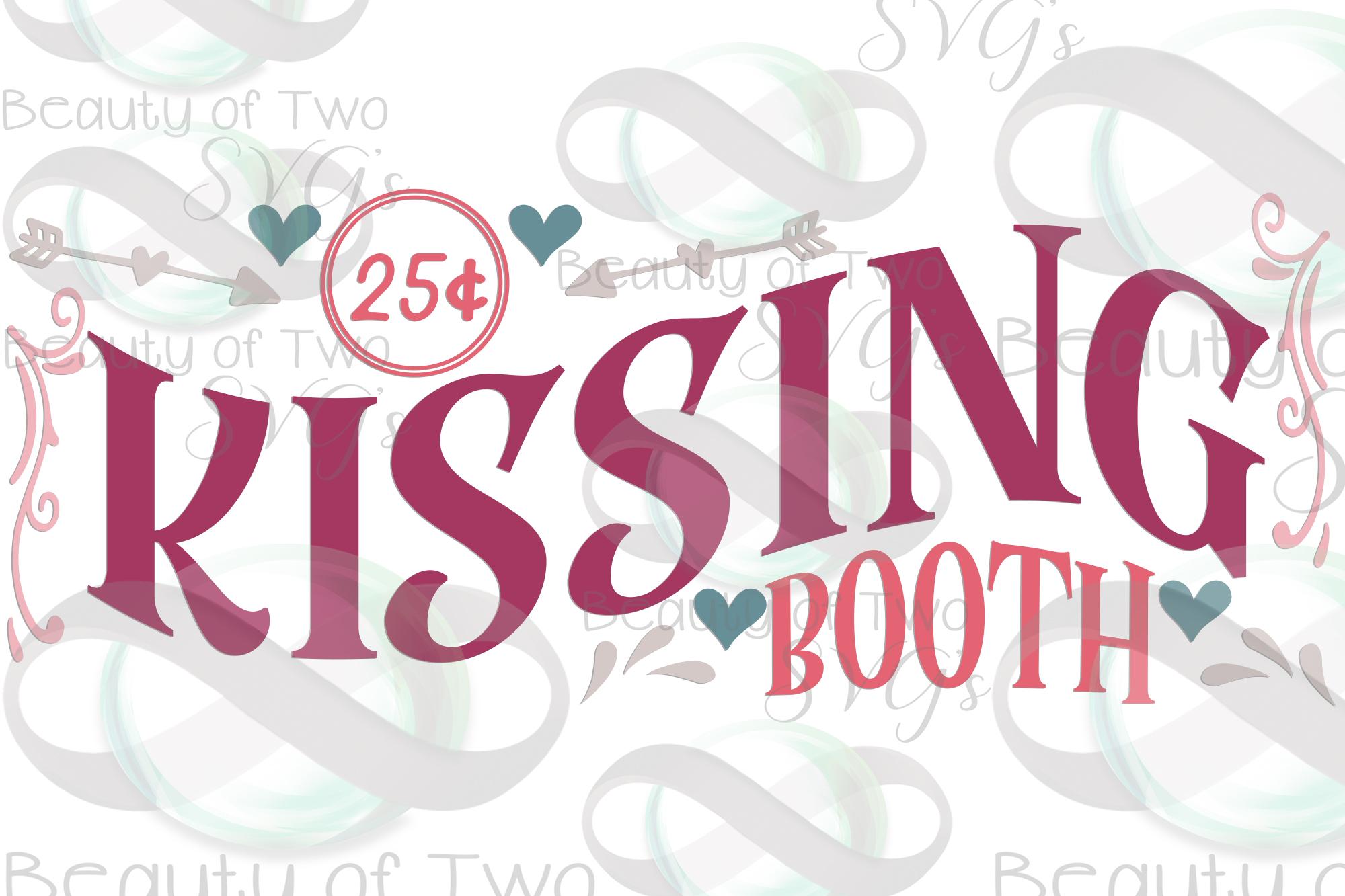 Valentines Kissing Booth svg, Valentines sign design svg example image 2