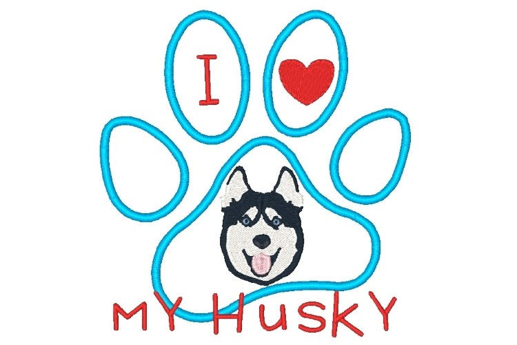 Husky Paw Print Machine Embroidery Design Set of 2 example image 2