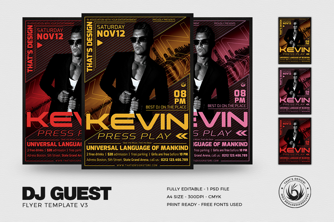 DJ Guest Flyer Template V3 example image 1