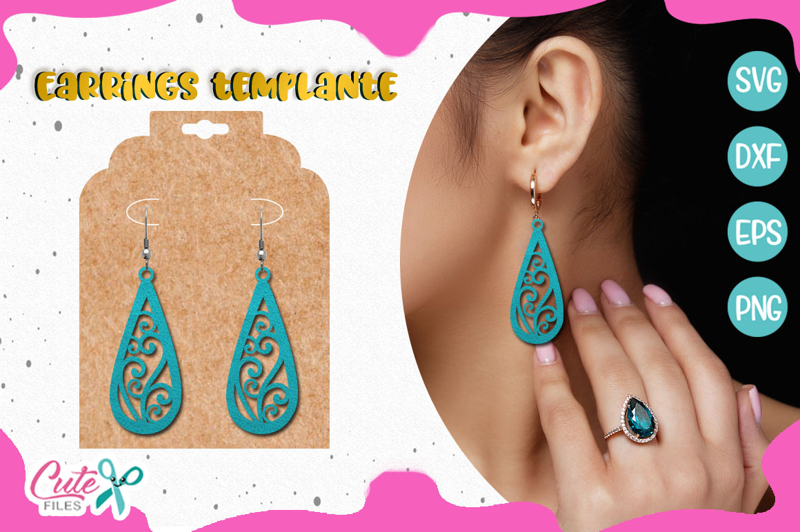 Earrings templante SVG cut file example image 1