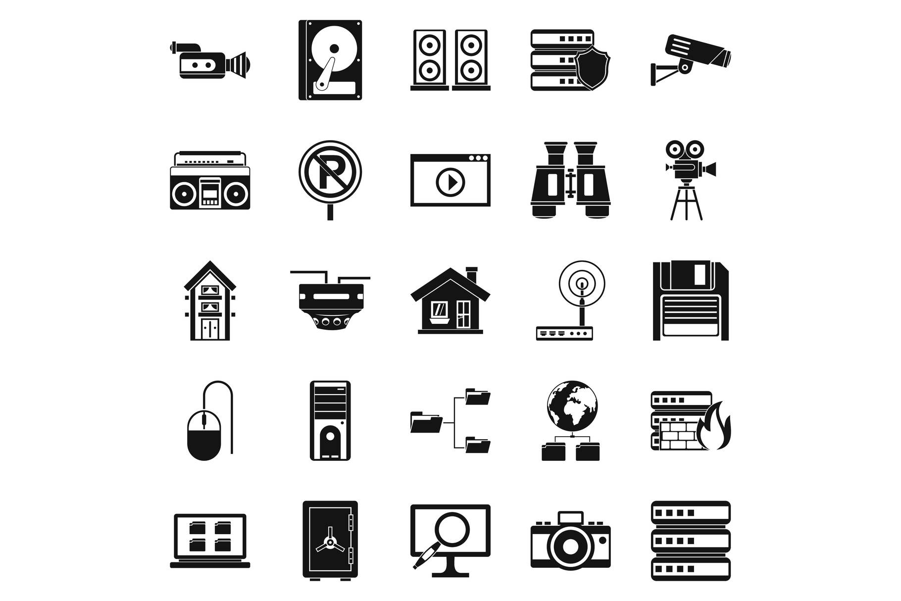 Surveillance icons set, simple style example image 1