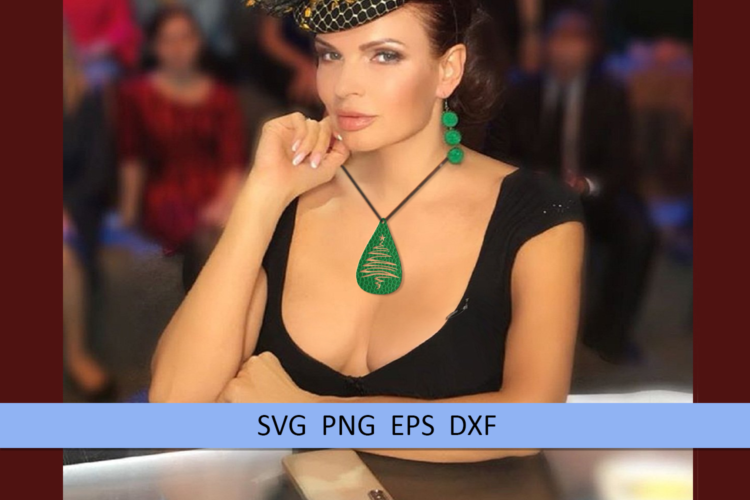 10 Christmas earrings svg Leather earrings svg Necklace svg example image 7