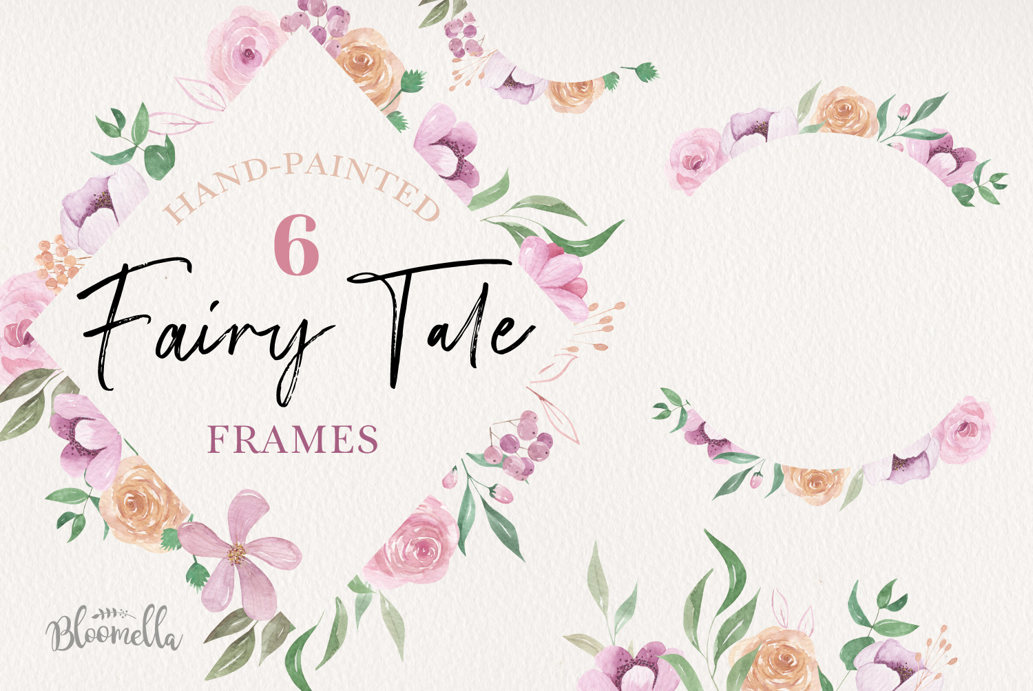 Fairy Tale Watercolor 6 Frames Set Flowers Borders example image 1