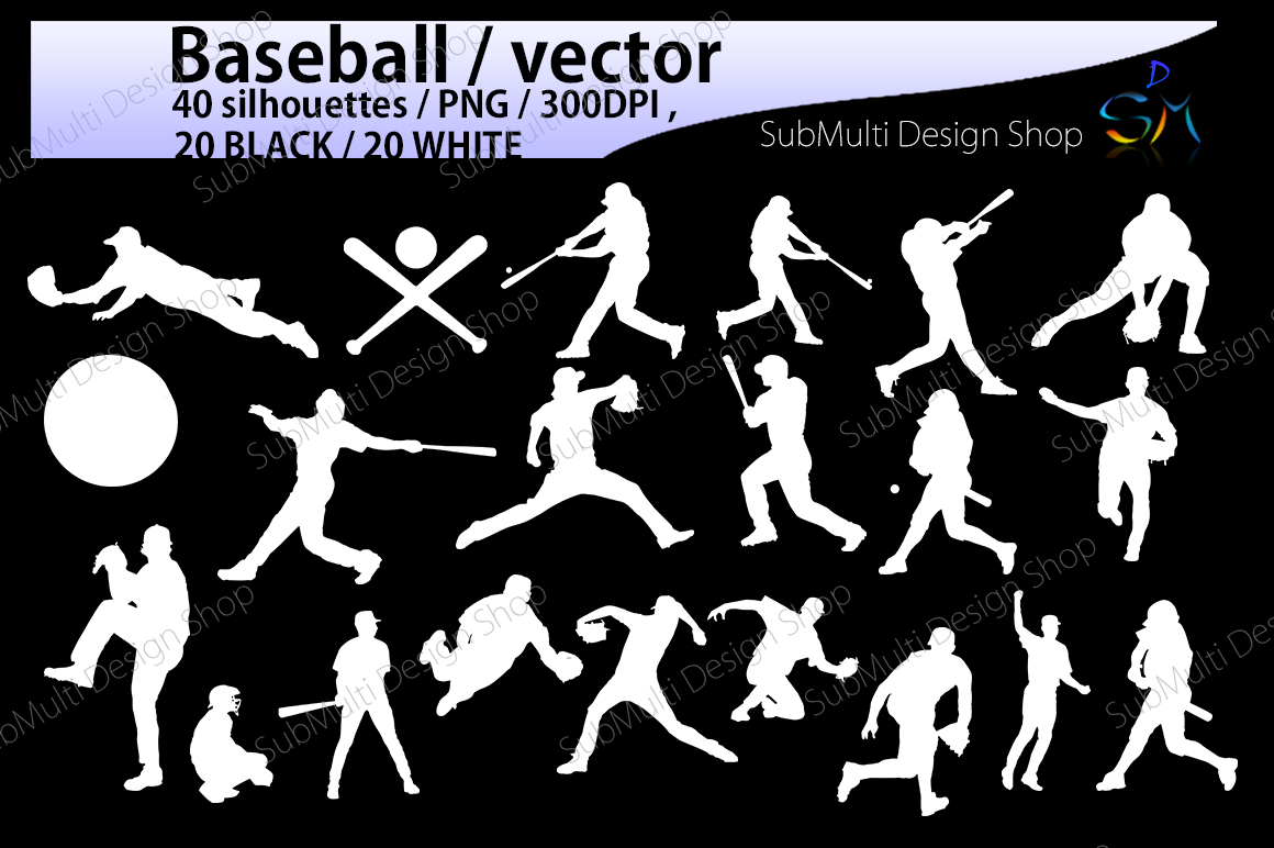 baseball svg / baseball silhouette / SVG / EPS / PNG / DXf / clipart / baseball players / vector file / base bat / digital / High Quality example image 2