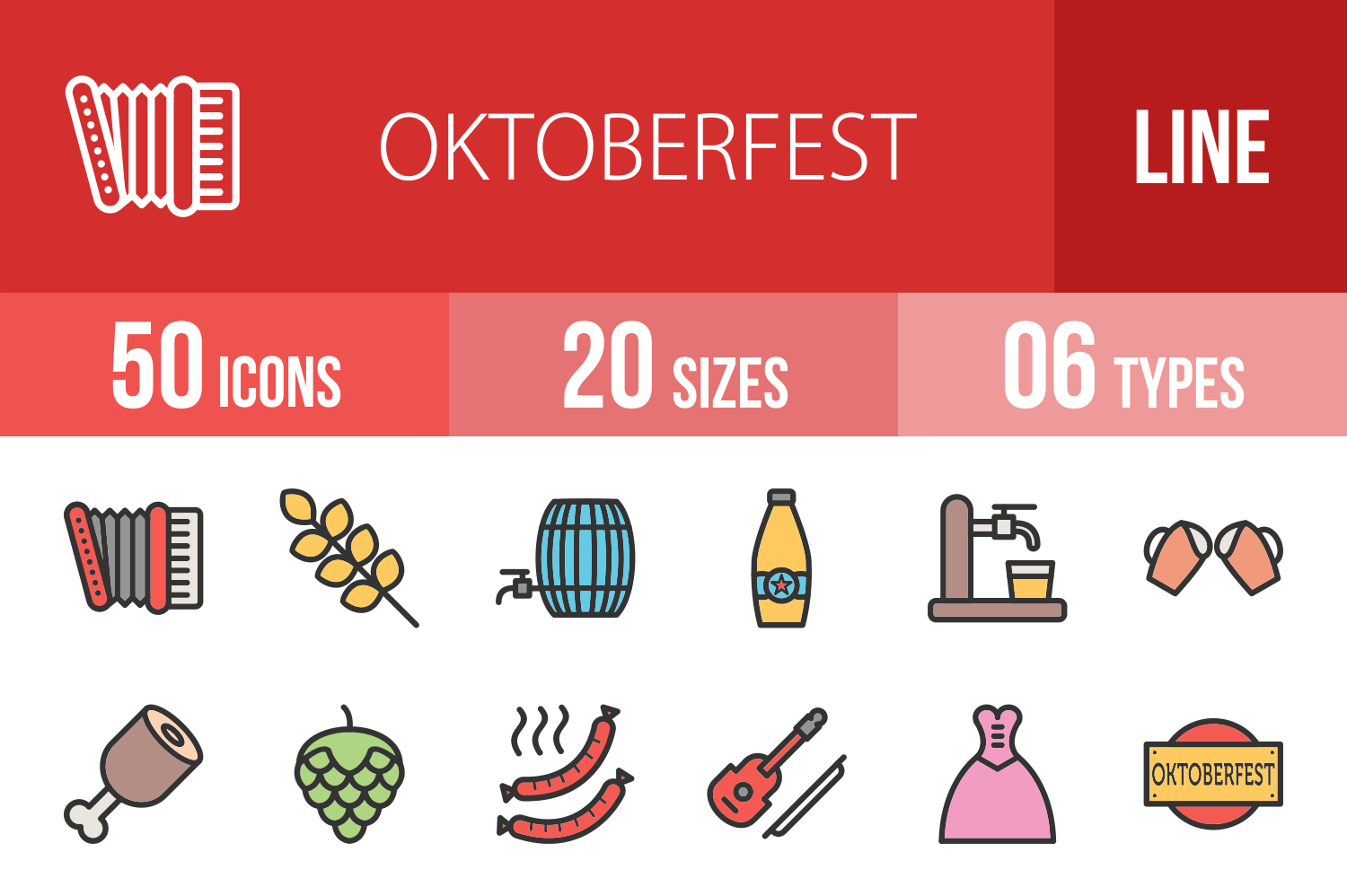 50 Oktoberfest Linear Multicolor Icons example image 1