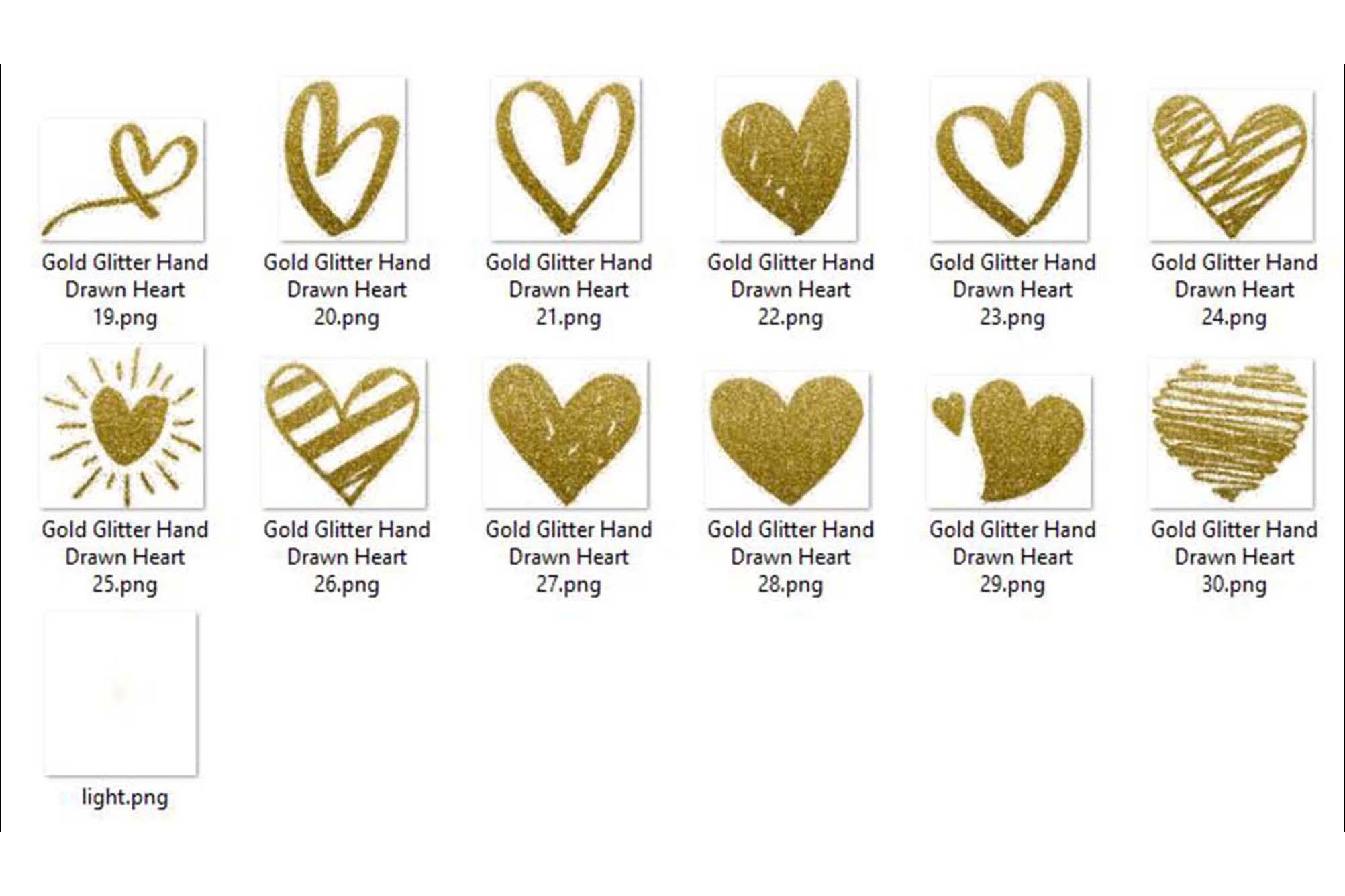 30 Gold Glitter Hand Drawn Heart Clip Arts Wedding Valentine example image 8