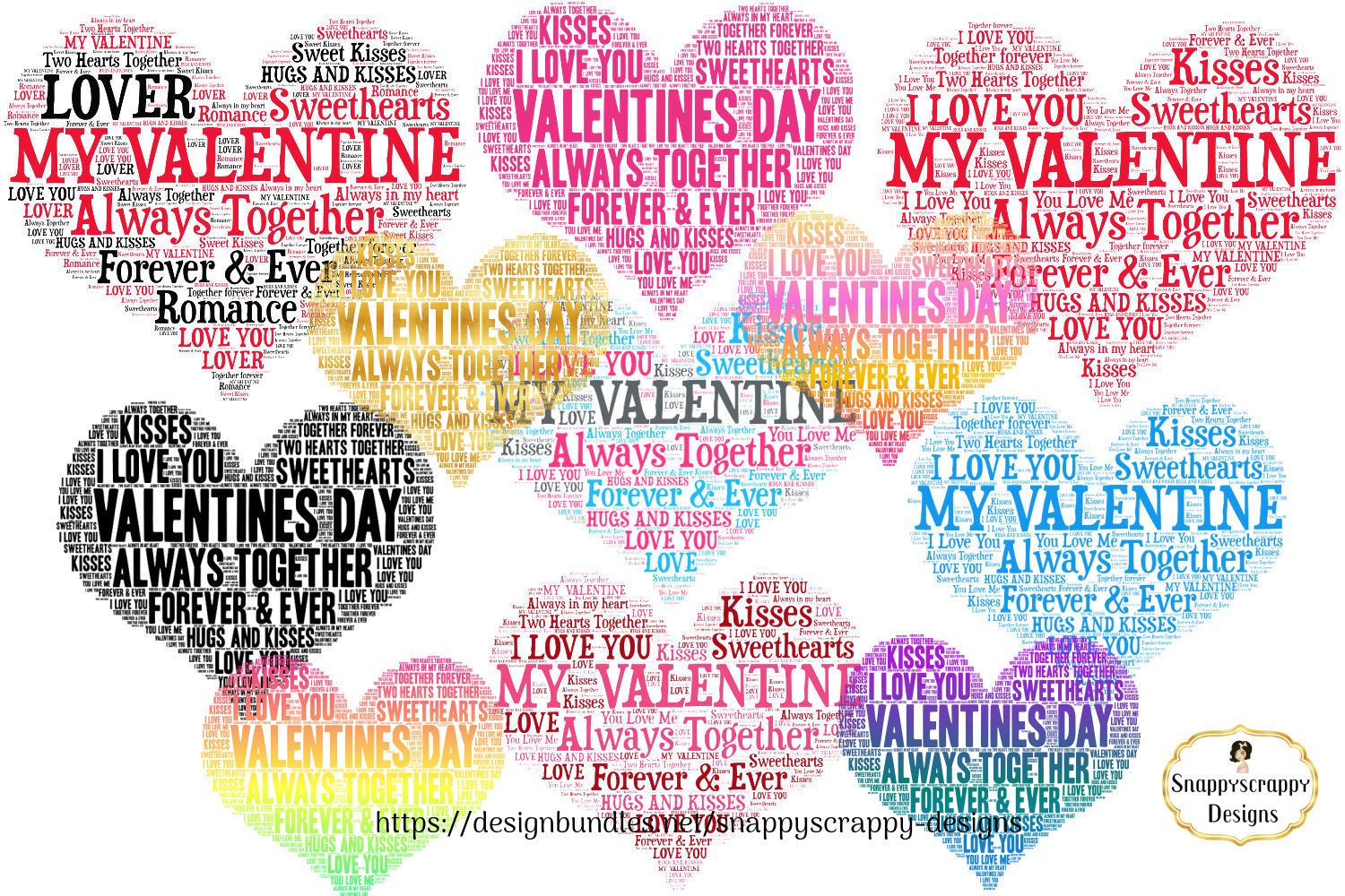 Valentine Love Hearts - Wordart Shapes example image 1