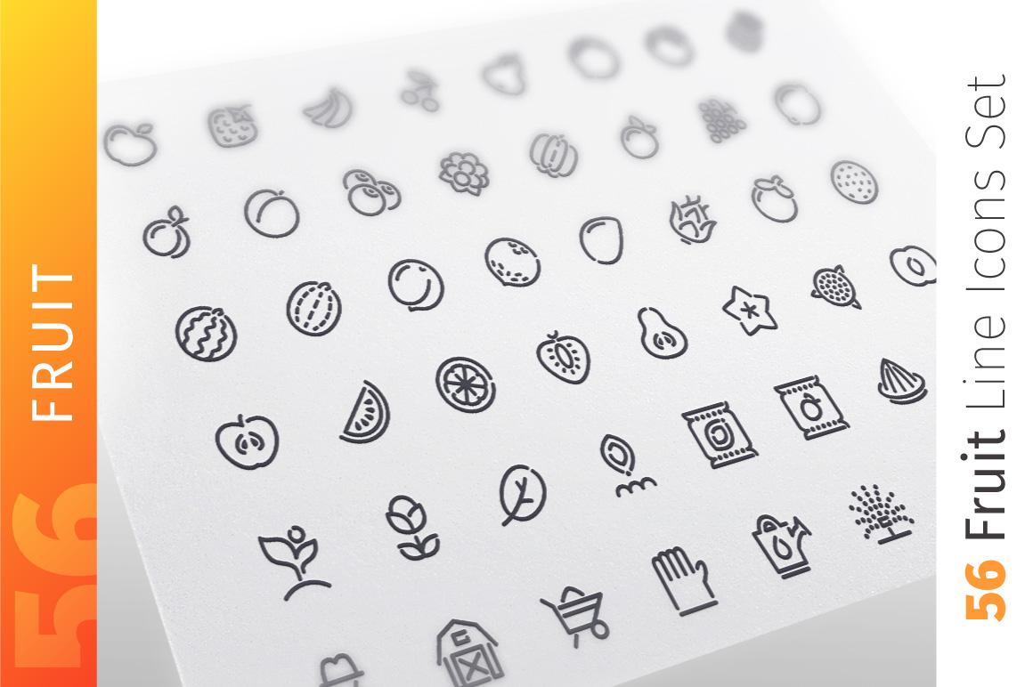 Fruit Line Icons Set example image 1