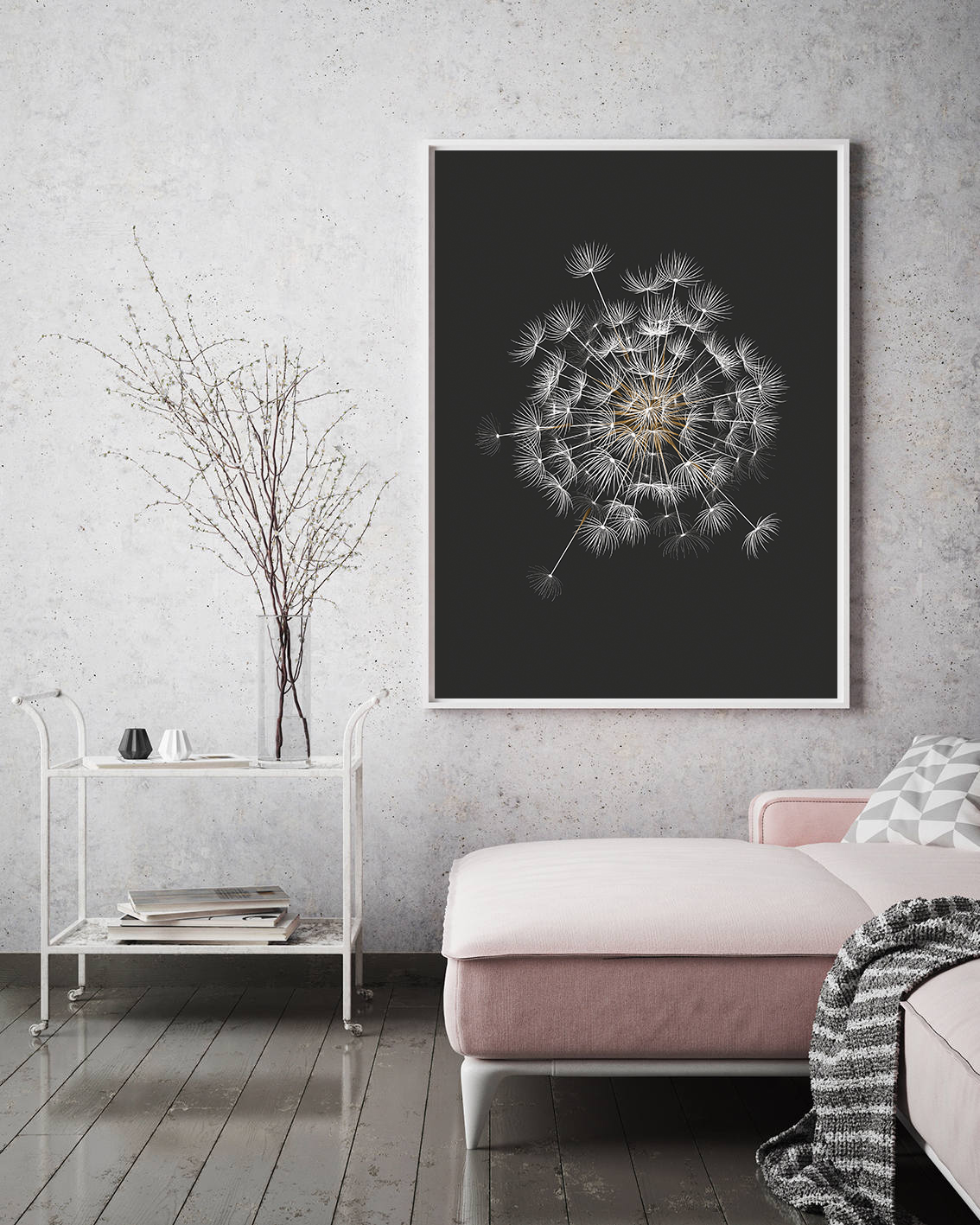 Dandelion Printable, Black Background Botanical Prints example image 3