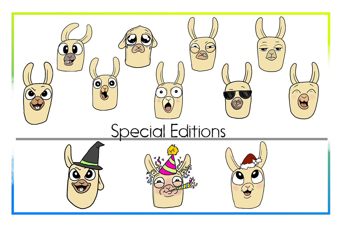 Emotional Llama Faces and Bodies | Emotional llama Bundle example image 3