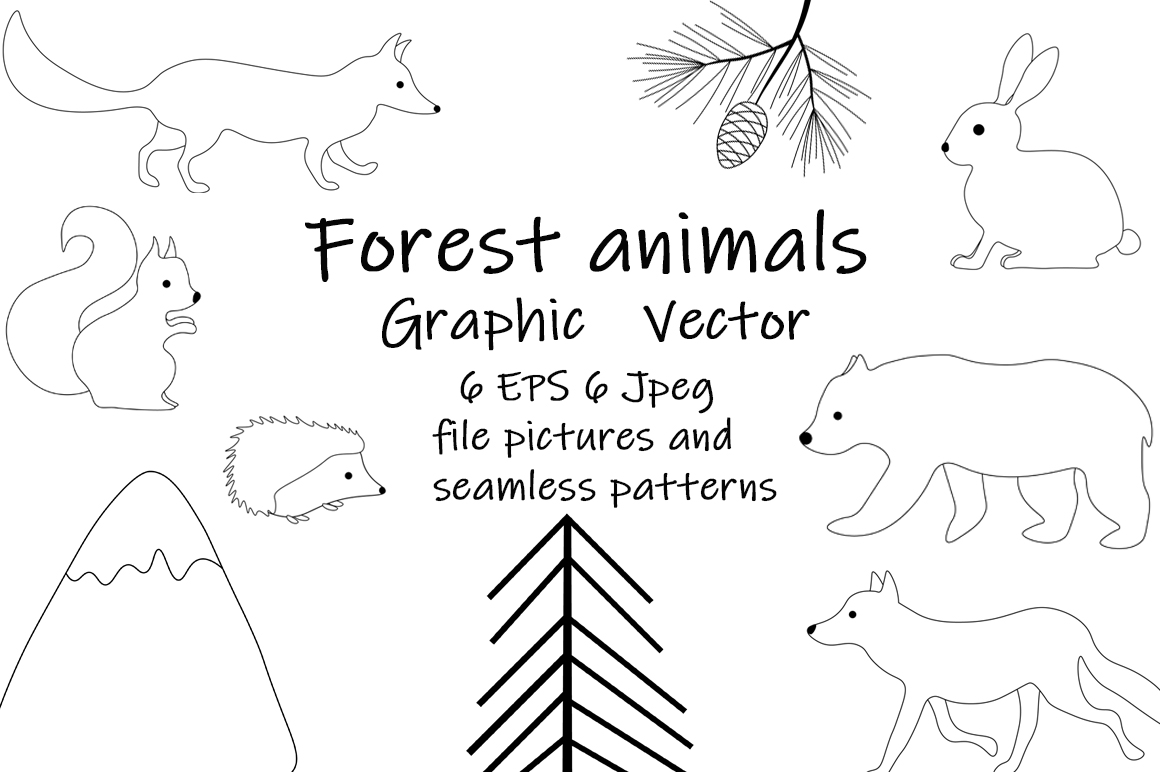 Set of illustrations Animals forest graphics vector example image 1