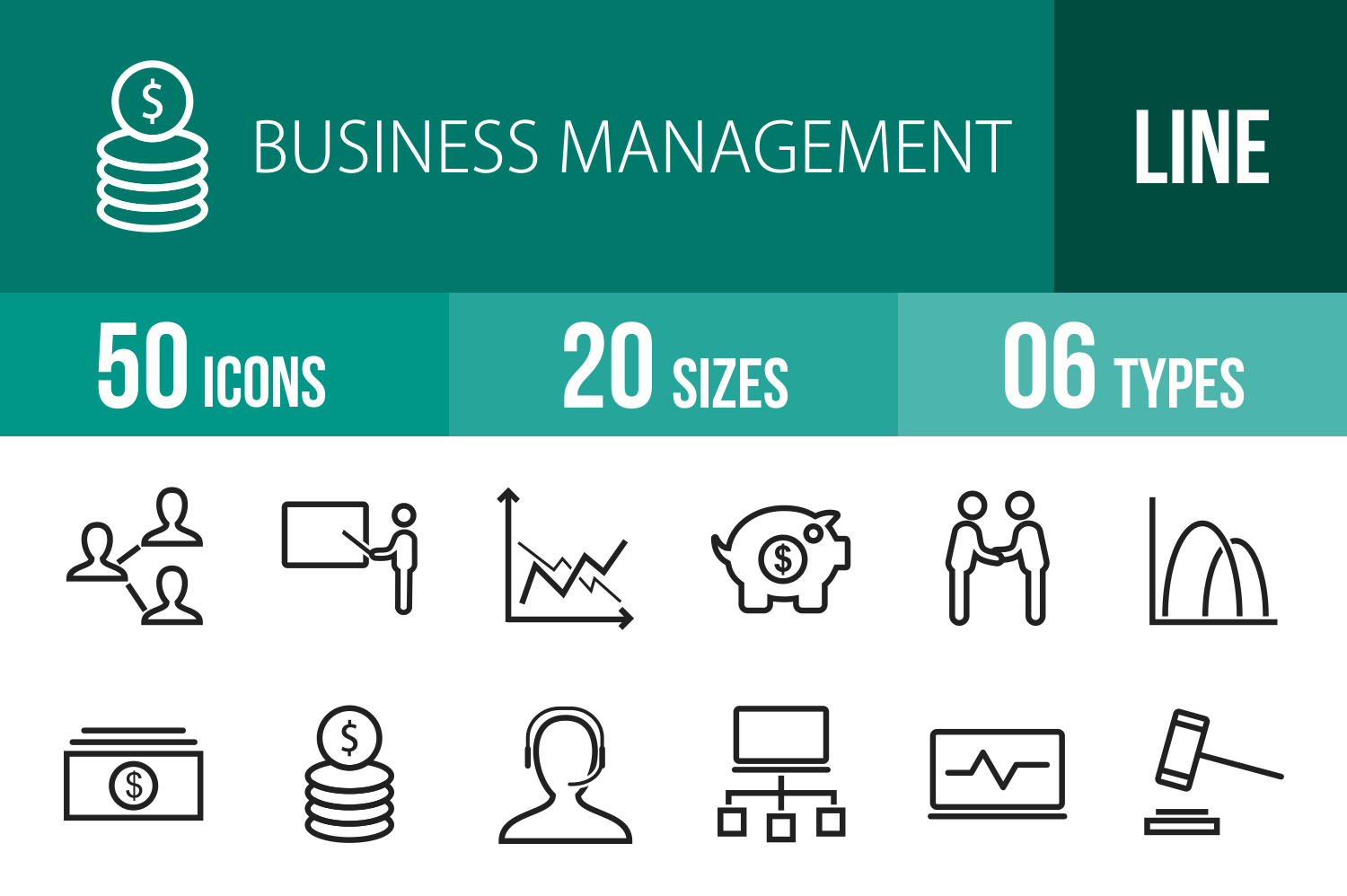 50 Business Management Line Icons example image 1