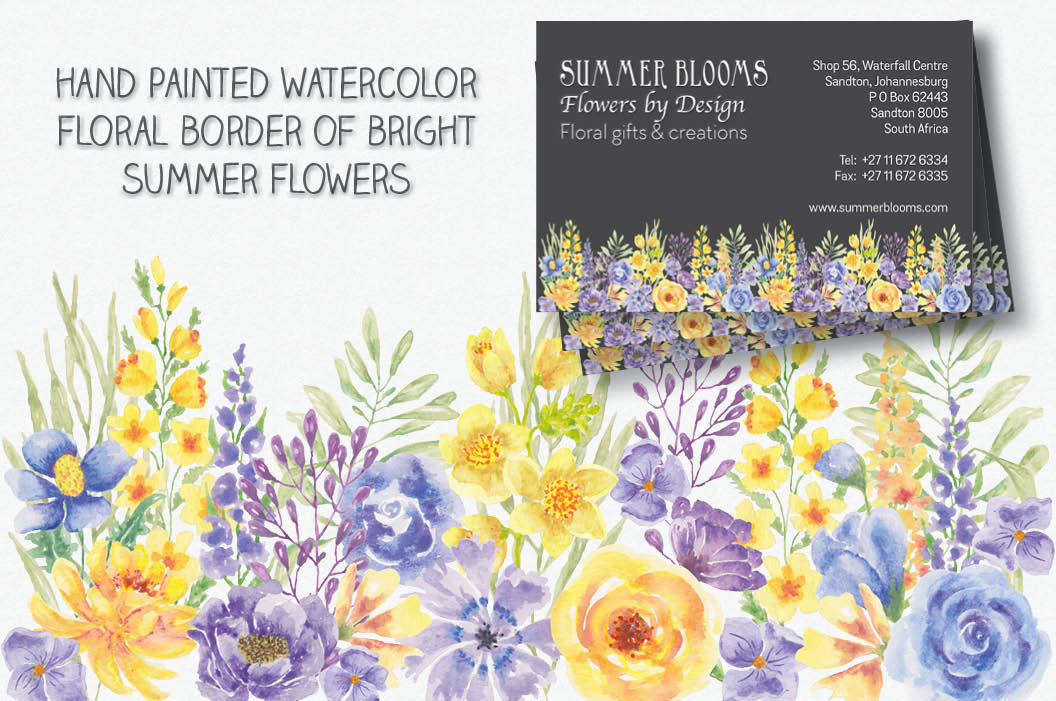 'Summer Flowers': border plus watercolor elements example image 2
