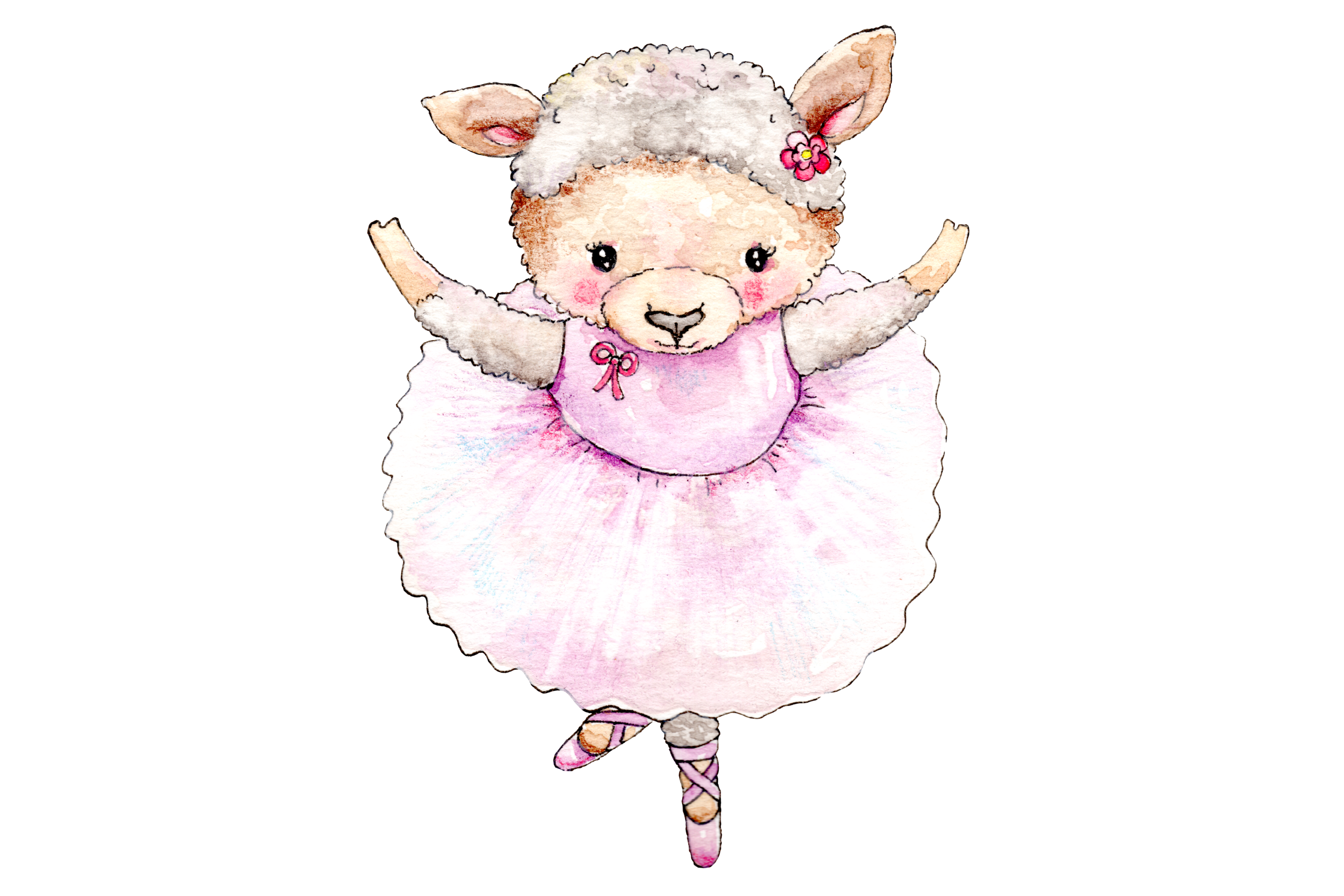 Watercolor Ballet Animals | 8 Clip Art Illustrations-PNG/JPG example image 9