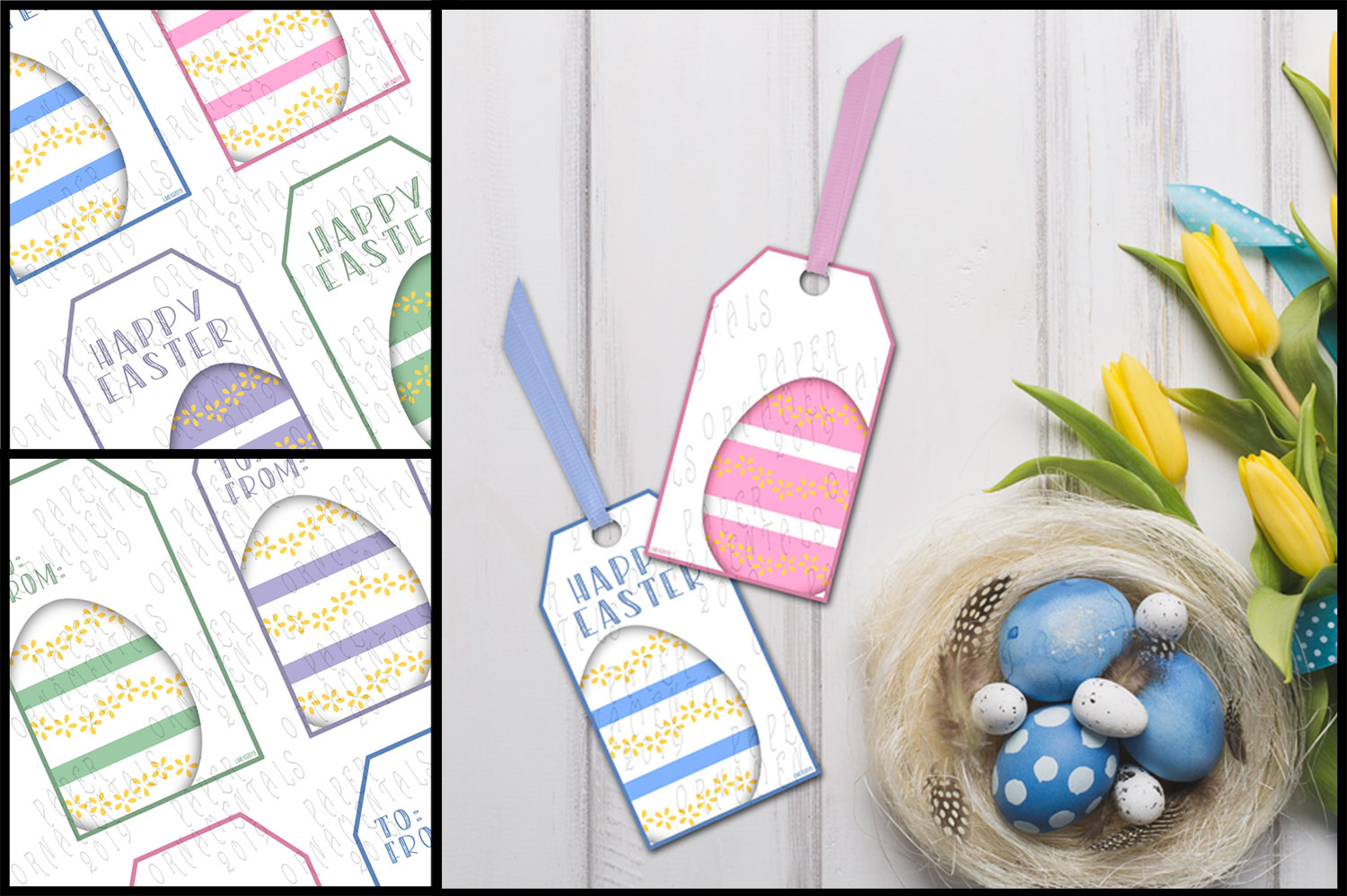 Printable Easter Gift Tags, Pastel Easter Eggs example image 2