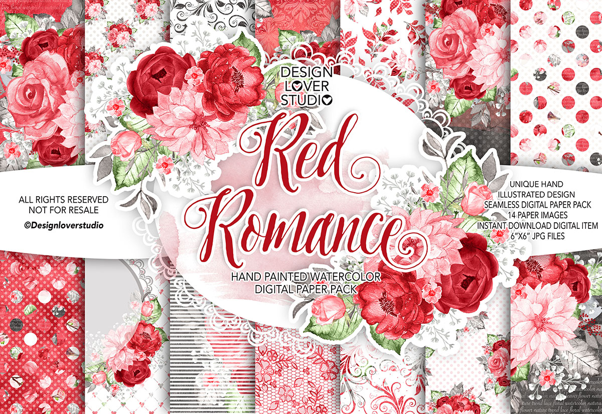Watercolor RED ROMANCE digital paper pack example image 1