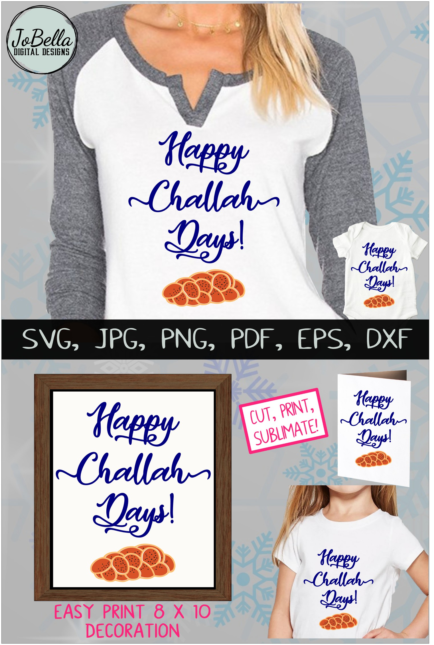 Challah Happy Hanukkah SVG, Printable and Sublimation PNG example image 6