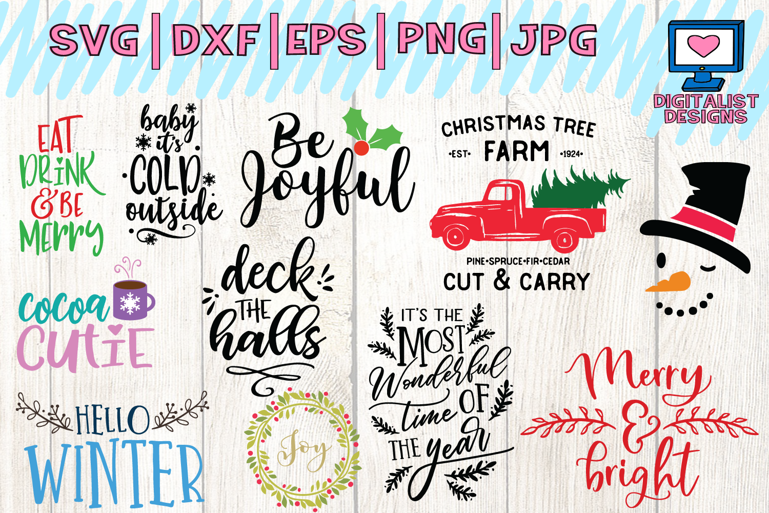 christmas bundle svg, dxf, png, jpg, eps example image 2