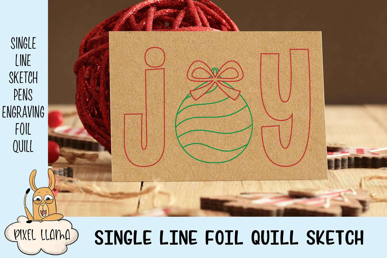 Joy Christmas Card Single Line Sketch example image 2