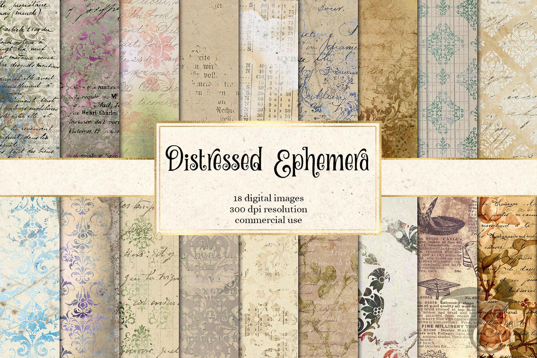 Distressed Ephemera Digital Paper example image 1