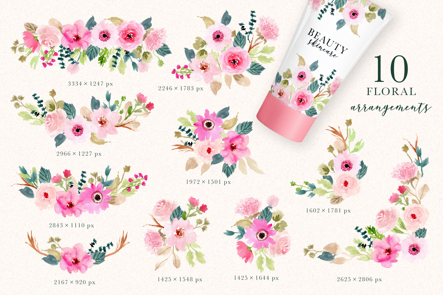 Pink Delight - Watercolor Floral Clipart example image 2