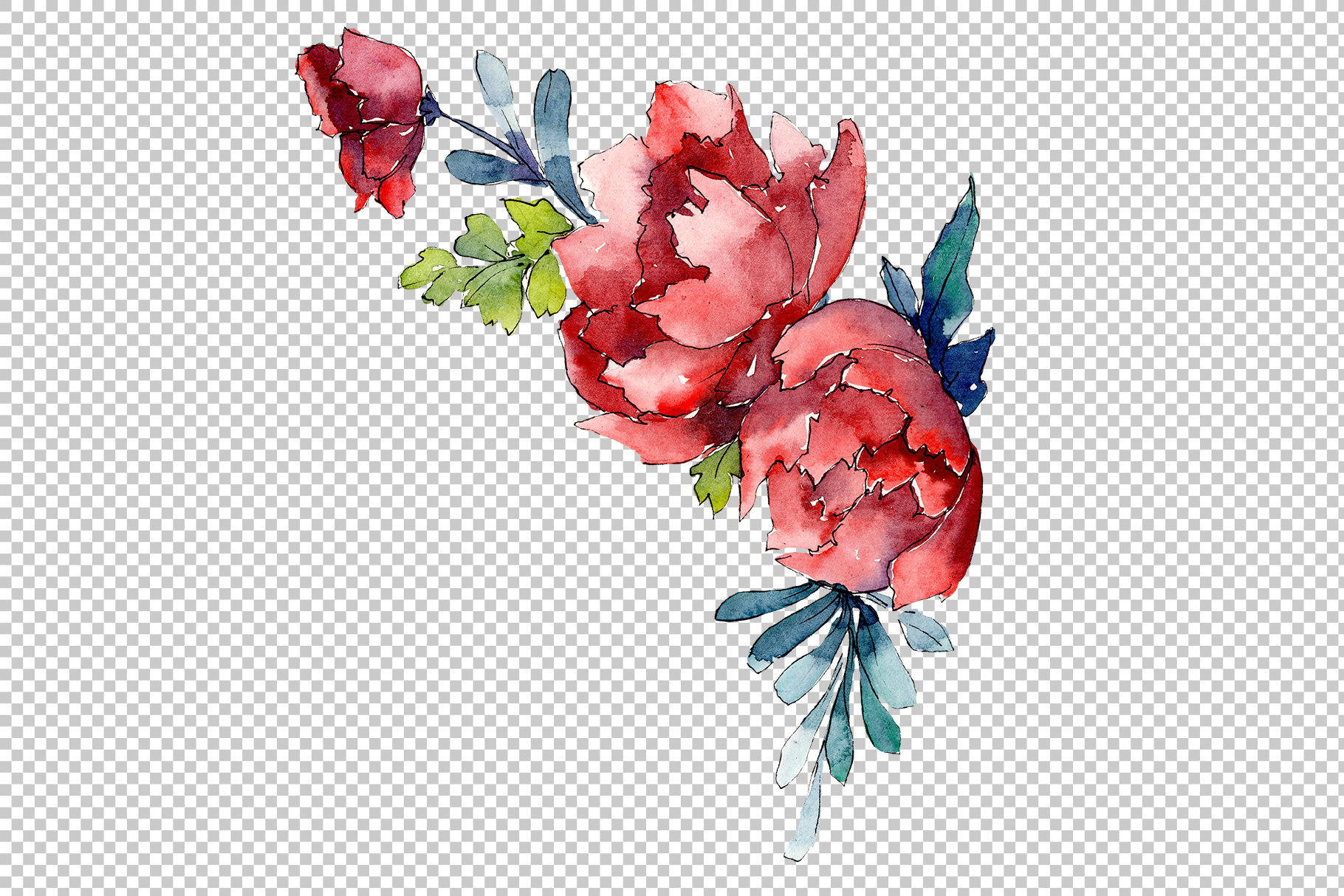 Bouquet Sunny mood watercolor png example image 4