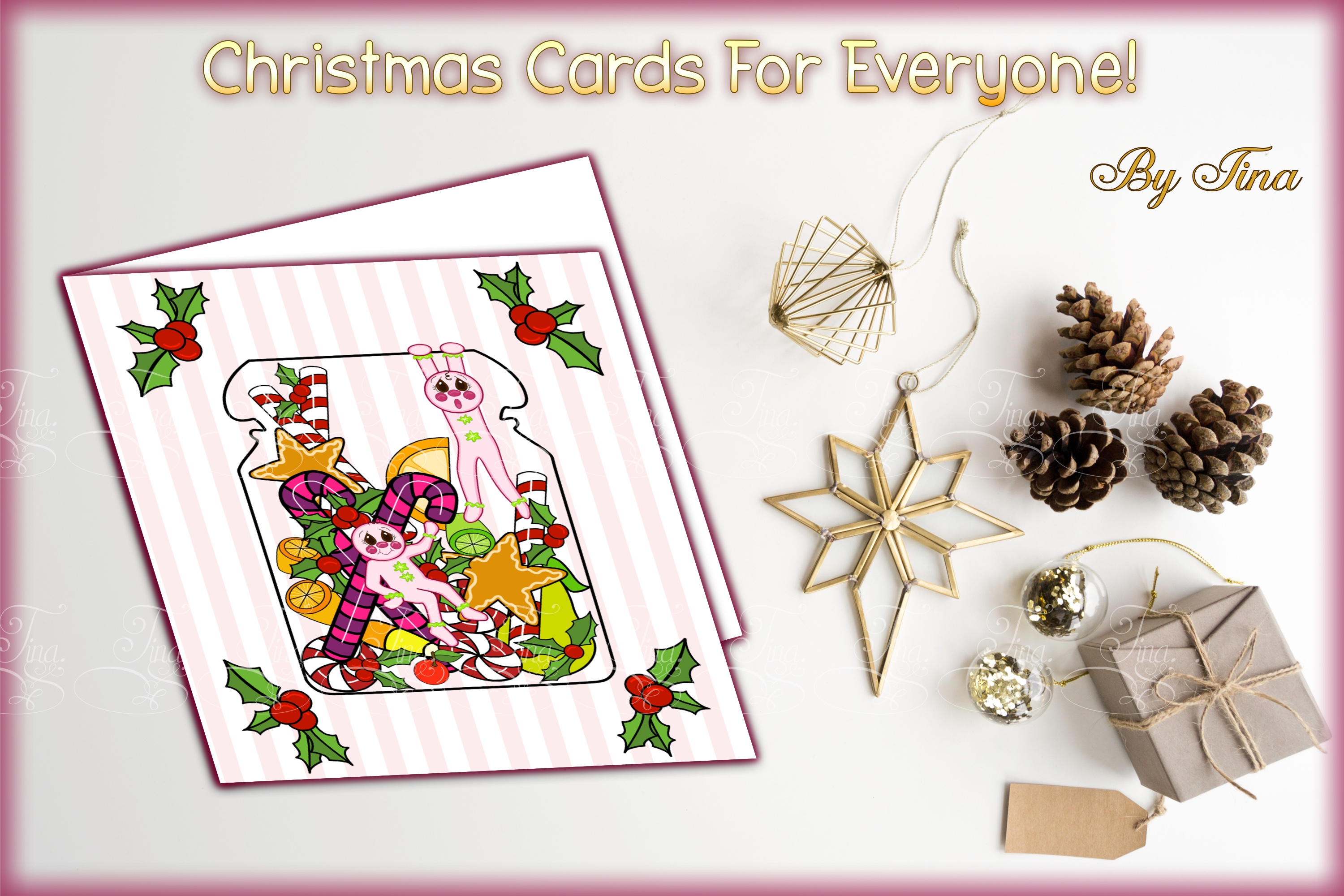 Christmas Card Sugar Spice Pink Gingerbread Men 111218SSGBC example image 2