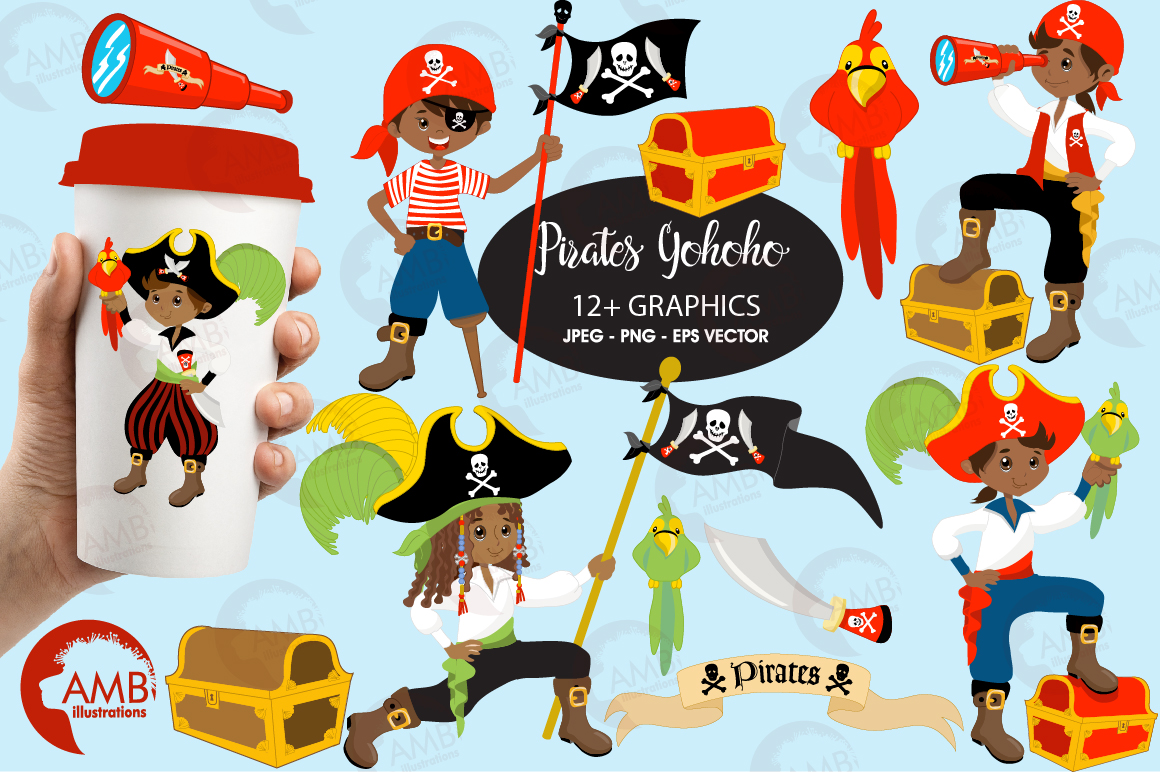 Pirate boys, African American Pirate clipart, graphics and illustrations AMB-174 example image 1