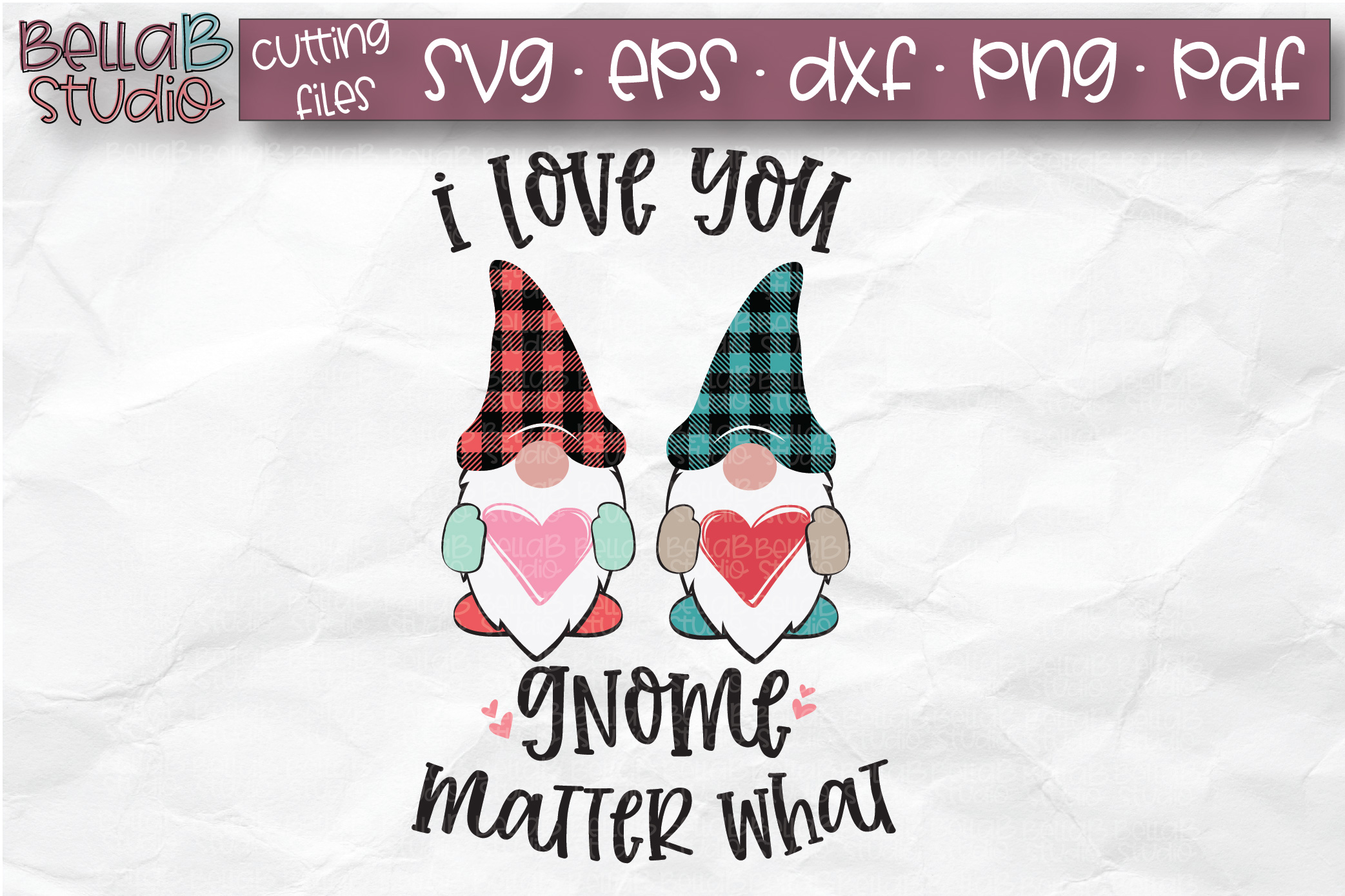 Valentine Gnomes SVG, I Love You Gnome Matter What, Plaid example image 1