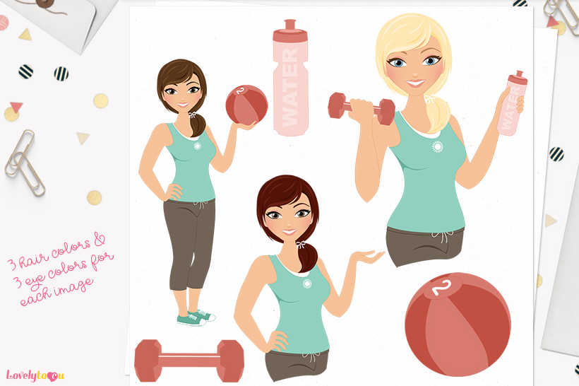 Woman workout character clip art L083 Georgia example image 1