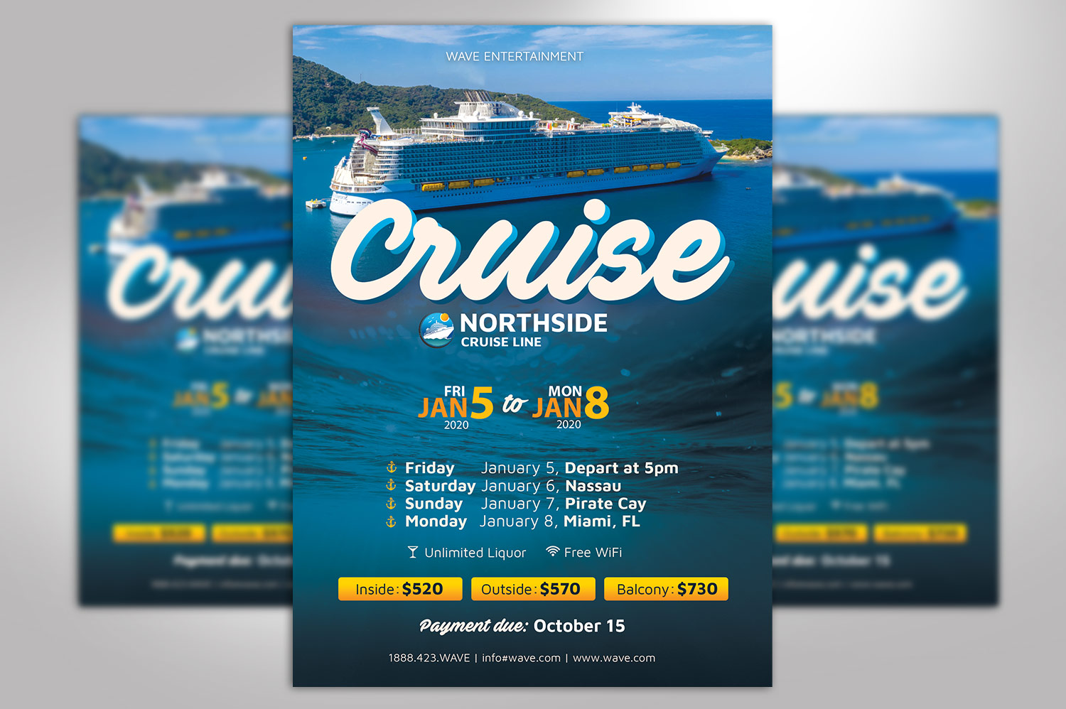 Cruise Travel Flyer Photoshop Template example image 2