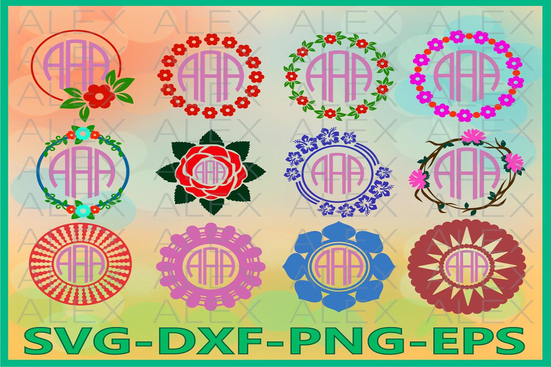 Floral Circle Monogram Frames SVG, Floral svg, Circle Frames example image 1