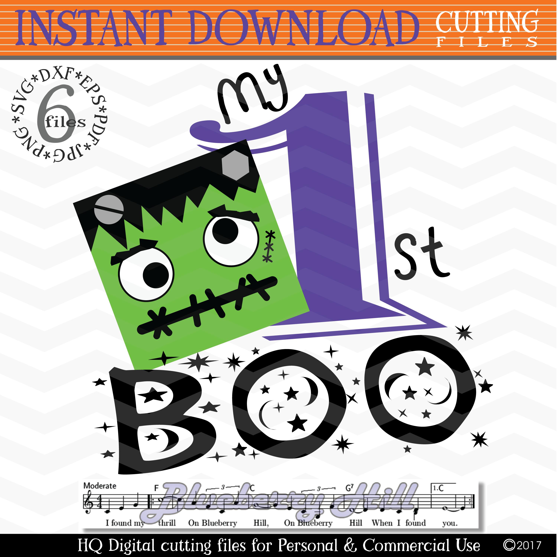 My 1st Hallowen - Halloween svg cutting files - Frankenstein example image 1