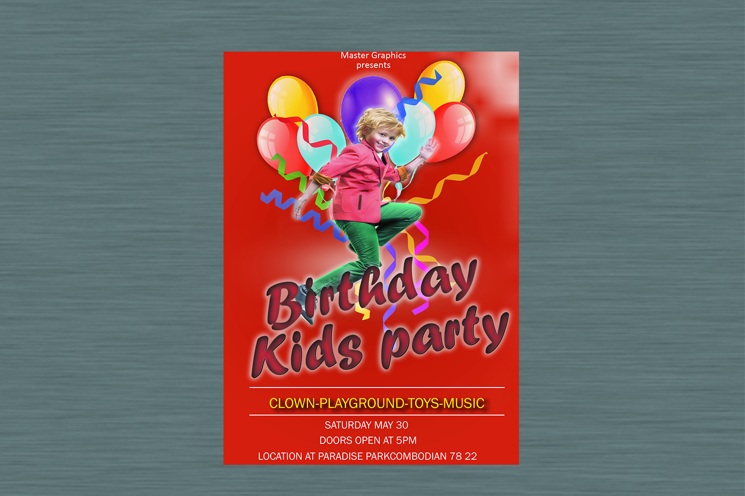 Birthday invitation card in 3 colours example image 3