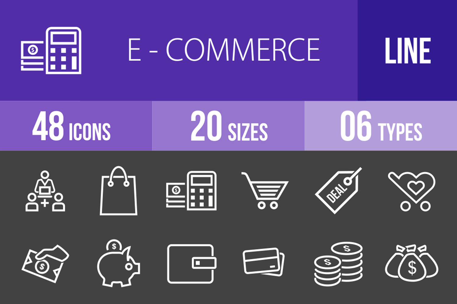 48 Ecommerce Line Inverted Icons example image 1