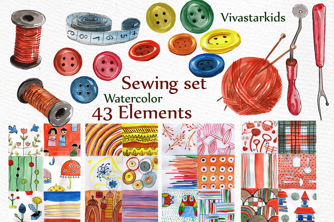 Watercolor sewing set clipart example image 3