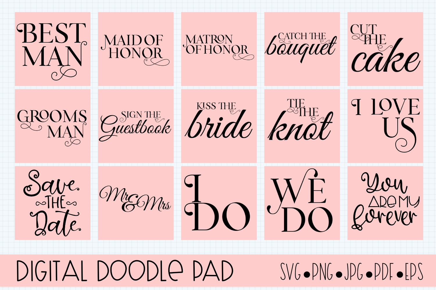 Wedding Bundle SVG files for Silhouette & Cricut example image 3